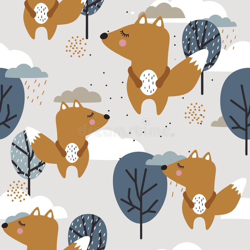Kolorowy bezszwowy wzór z ślicznymi wiewiórkami, drzewami i chmurami, royalty ilustracja