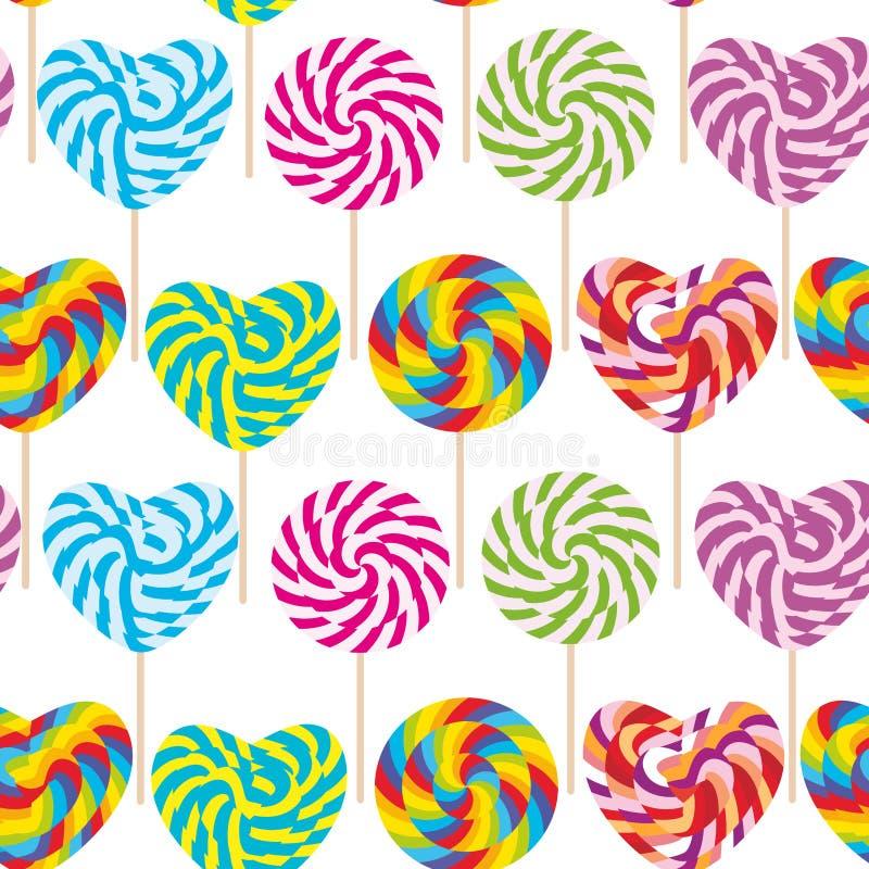 Kolorowy bezszwowy wzór, cukierków lizaki, ślimakowata cukierek trzcina Cukierek na kiju z kręconym projektem na białym tle wekto ilustracji