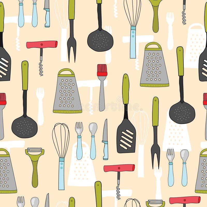 Kolorowy bezszwowy wzór kitchenware Cookware, domowego kucharstwa tło Ręka rysujący styl ilustracja wektor