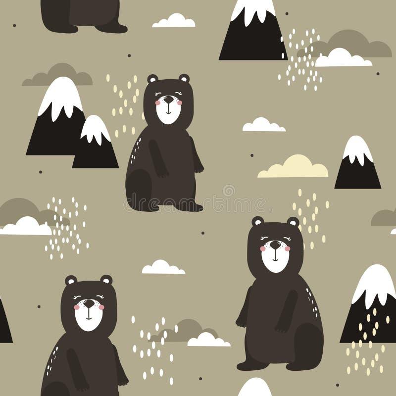 Kolorowy bezszwowy wzór, niedźwiedzie, góry i chmury, Dekoracyjny ?liczny t?o z zwierz?tami royalty ilustracja