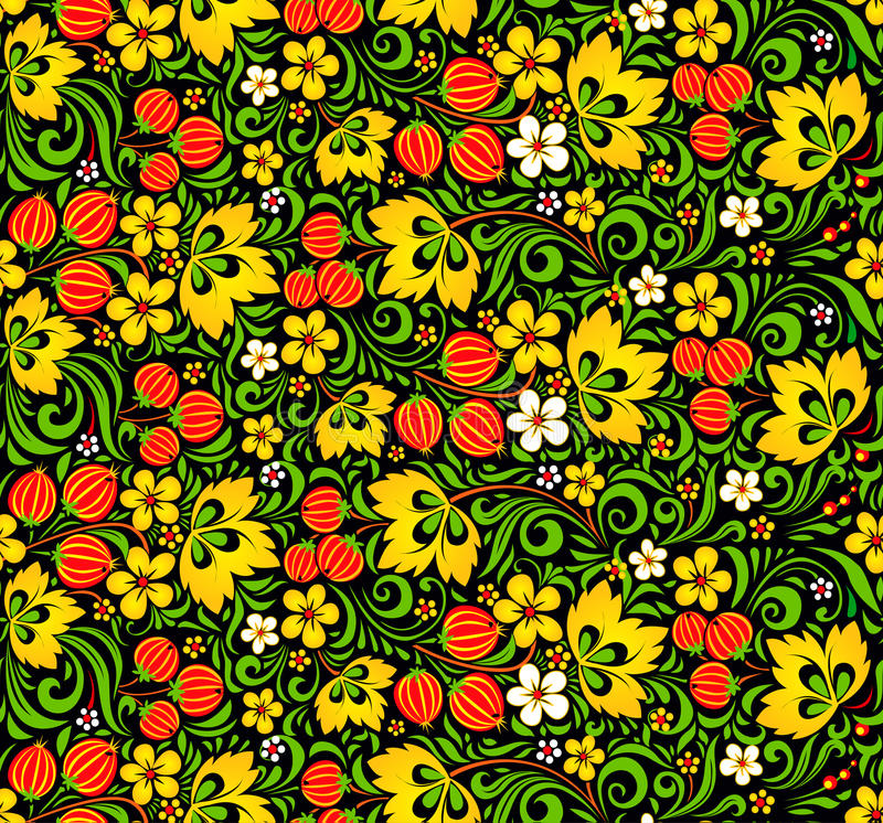 Kolorowy bezszwowy wzór w hohloma stylu royalty ilustracja