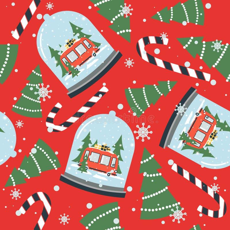 Kolorowy bezszwowy wzór z śnieżną kulą ziemską, czerwony autobus z prezentami, jedlinowi drzewa, cukierek trzciny Dekoracyjny ?li ilustracja wektor