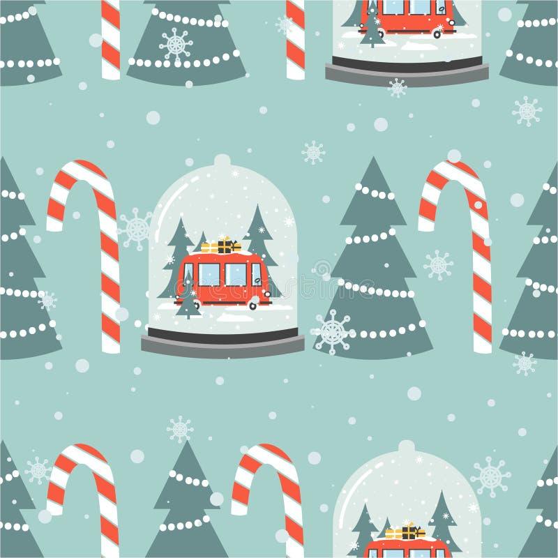 Kolorowy bezszwowy wzór z śnieżną kulą ziemską, czerwony autobus, prezenty, jedlinowi drzewa, cukierek trzciny Dekoracyjny ?liczn ilustracja wektor
