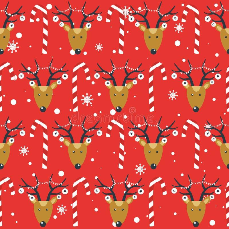 Kolorowy bezszwowy wzór z deers, cukierek trzciny, śnieg Dekoracyjny ?liczny t?o z zwierz?tami szcz??liwego nowego roku, royalty ilustracja