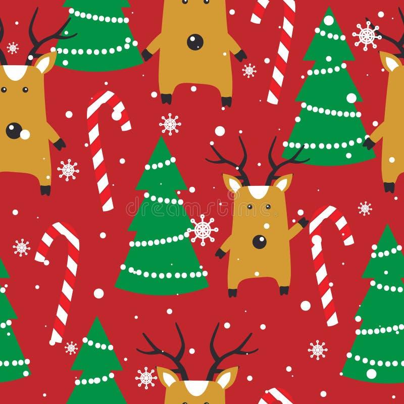 Kolorowy bezszwowy wzór z deers, jedlinowi drzewa, cukierek trzciny, śnieg Dekoracyjny ?liczny t?o z zwierz?tami szcz??liwego now royalty ilustracja