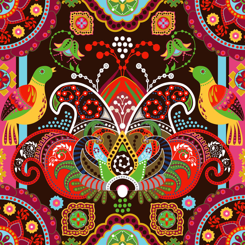 Kolorowy bezszwowy wzór z dekoracyjnymi ptakami i kwiatami royalty ilustracja