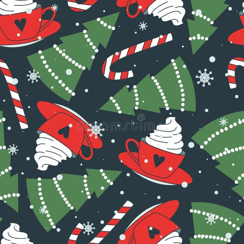 Kolorowy bezszwowy wzór z filiżankami, jedlinowi drzewa, cukierek trzciny, śnieg Dekoracyjny ?liczny t?o szcz??liwego nowego roku ilustracji
