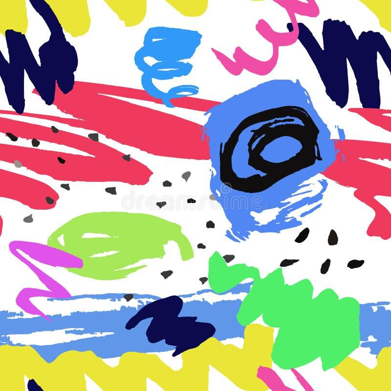 Kolorowy bezszwowy wzór z folwarczkiem, atramentu kształta elementy na whi ilustracji