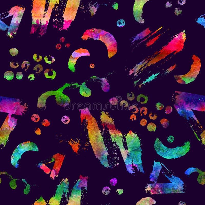 Kolorowy bezszwowy wzór z muśnięciem muska i kropki Tęczy akwareli kolor na fiołkowym tle Ręka Malująca royalty ilustracja