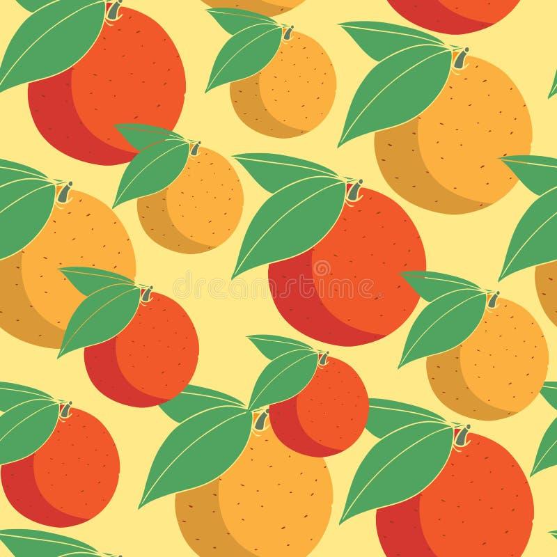 Kolorowy bezszwowy wzór z pomarańczową owoc na żółtym tle dla tkaniny, opakunkowego papieru i tapety, ilustracji