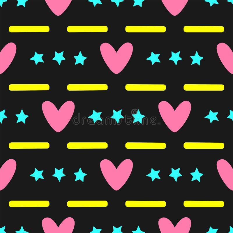 Kolorowy bezszwowy wzór z sercami, gwiazdami i lampasami, Elegancki colour dziewczyny druk Czerń, kolor żółty, menchia, turkus royalty ilustracja