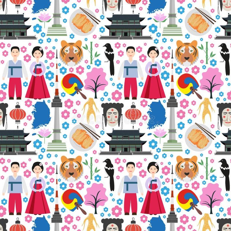 Kolorowy bezszwowy wzór z symbolami Południowy Korea ilustracji