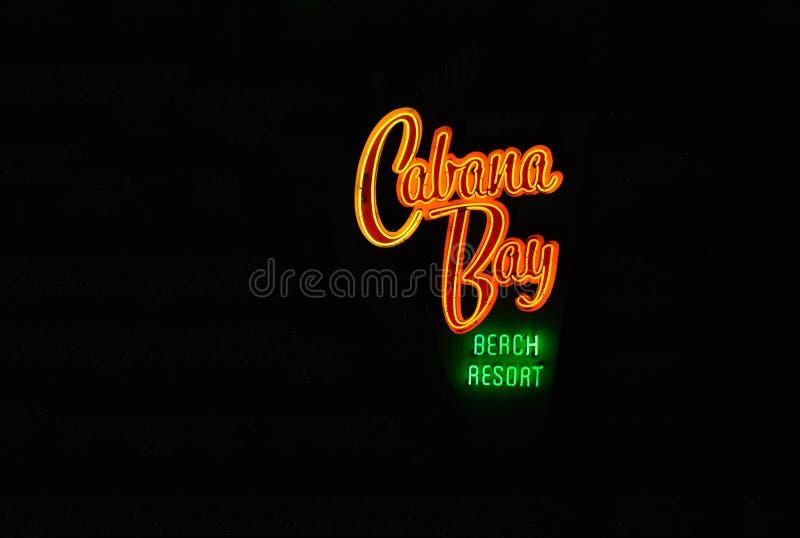 Kolorowy Cabana zatoki znak na czarnym tle w Universal Studios terenie, zdjęcie royalty free