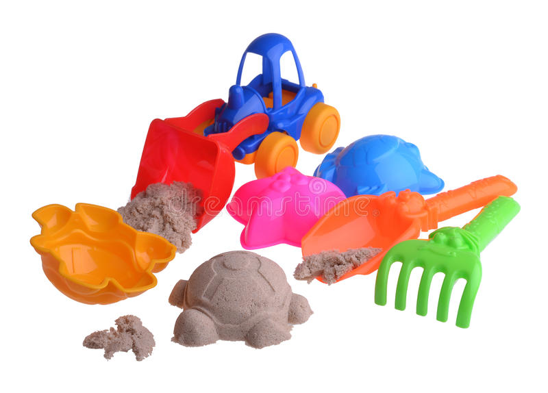 Kolorowy children piasek ustawiający na odosobnionym zdjęcia stock