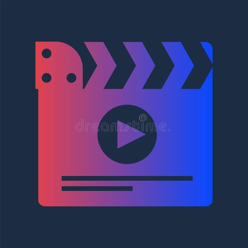 Kolorowy Clapper dla Multimedialnej produkcji ikony ilustracja wektor