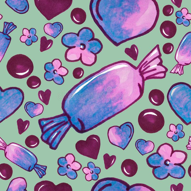 Kolorowy cukierku deser, serca i kwiaty maluje, - bezszwowy wzór na zielonym tle royalty ilustracja