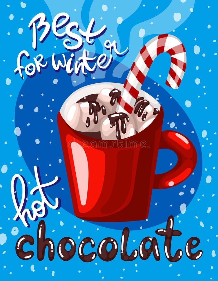 Kolorowy cyfrowy plakat z czerwonym kubkiem gorącej czekolady marshmallow karmelu trzcina, płatki śniegu i ręcznie pisany literow ilustracji