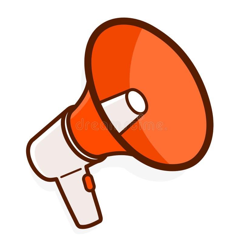 Kolorowy czerwony megafon lub megafon royalty ilustracja