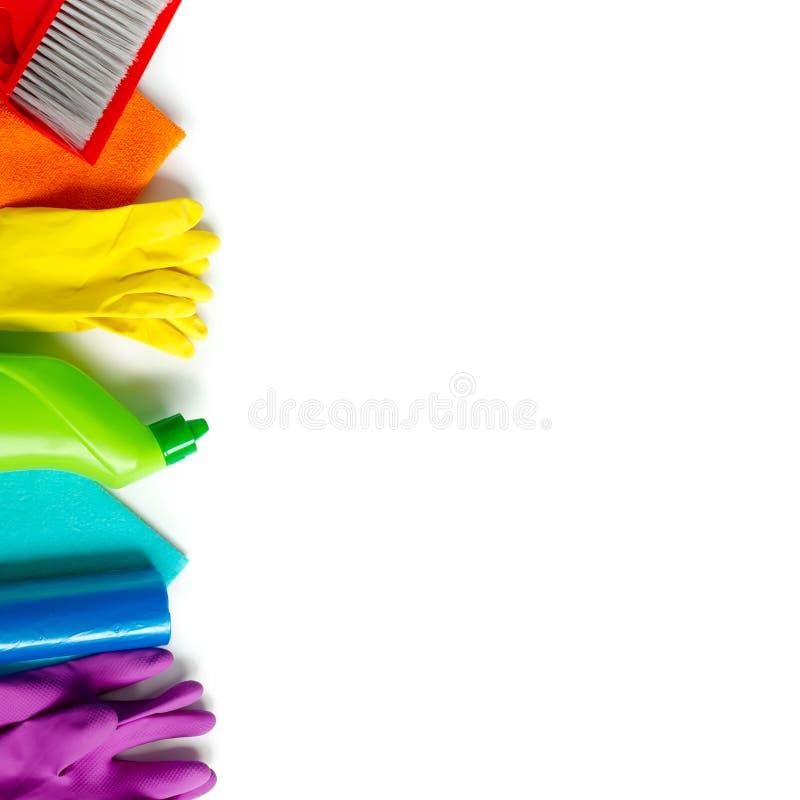 Kolorowy czy?ci set dla r??nych powierzchni w kuchni, ?azience i innych pokojach, obraz stock