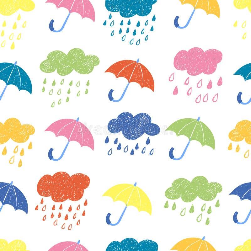 Kolorowy dżdżysty bezszwowy wzór ilustracji