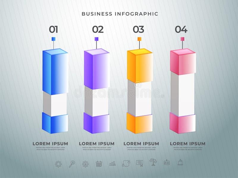 Kolorowy 3D infographic bar z twój krok liczbami na siatki tle ilustracja wektor
