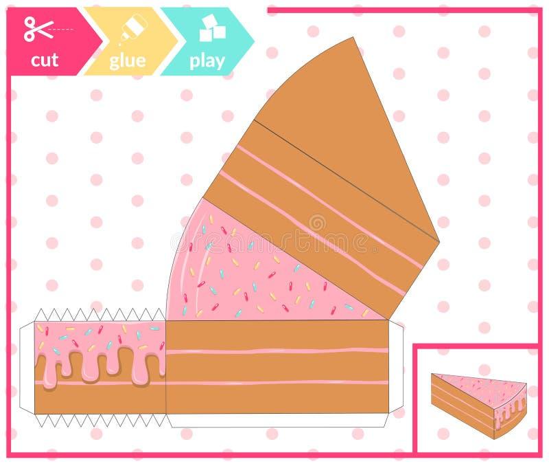 Kolorowy 3d kulebiak tort Edukaci papierowa gra dla preshool dzieci również zwrócić corel ilustracji wektora ilustracja wektor