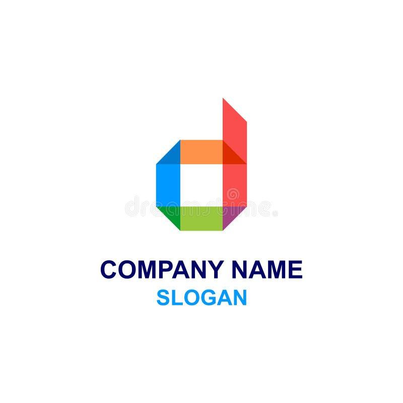 Kolorowy d listu inicjału logo ilustracji