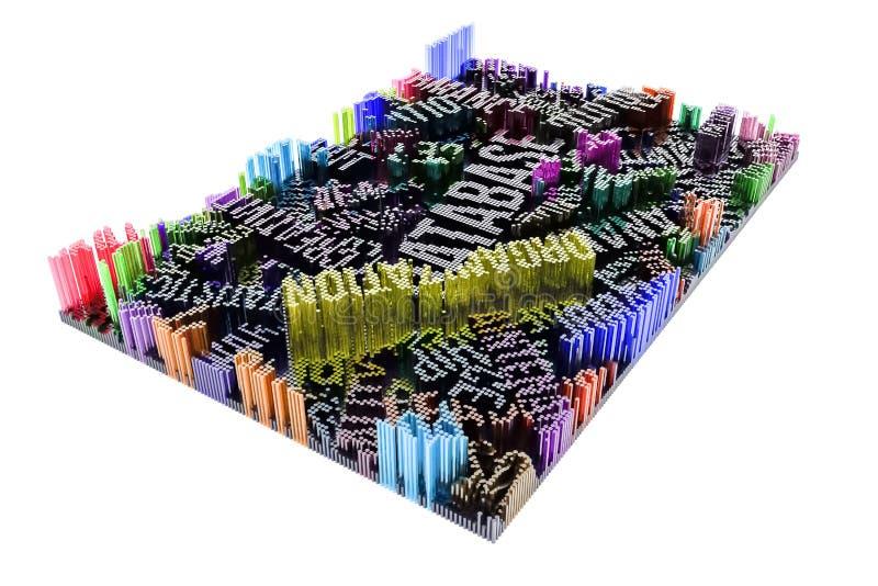 Kolorowy 3d rendering Abstrakcjonistyczny kształta skład, geometryczny str royalty ilustracja