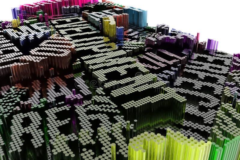 Kolorowy 3d rendering Ilustracje kształta skład, geome ilustracja wektor