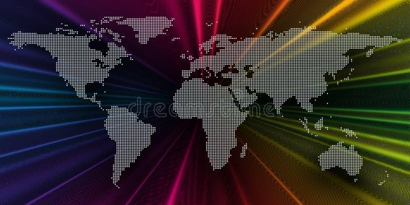 Kolorowy 3d tło z kropkowaną światową mapą, abstrakt macha, linie, kropki Jaskrawe kolor krzywy, zawijas Ruchu projekt royalty ilustracja