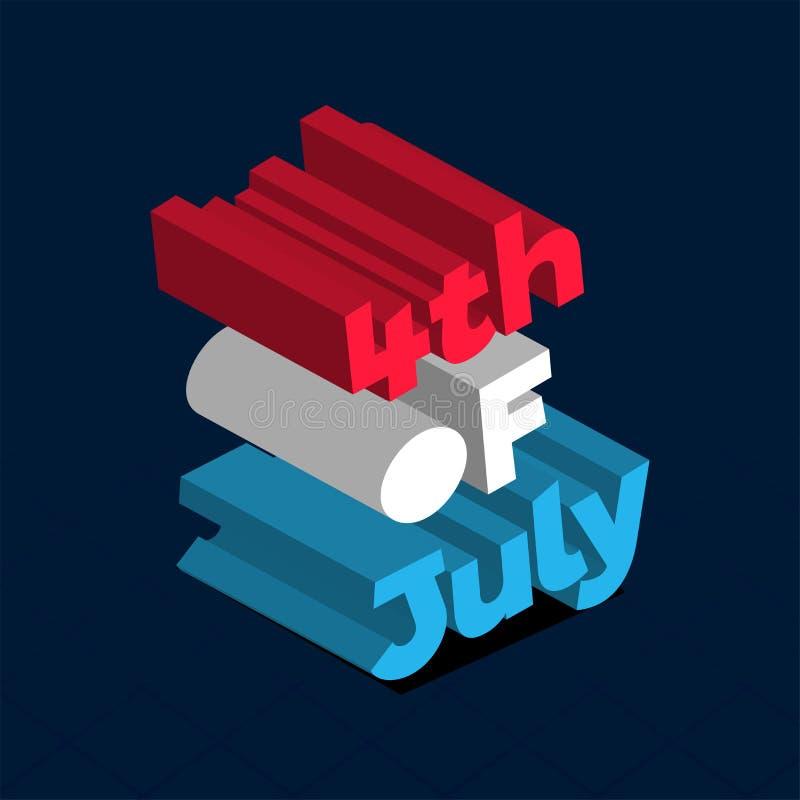 Kolorowy 3D tekst 4th Lipiec na błękitnym tle dla Szczęśliwego dnia niepodległości ilustracji