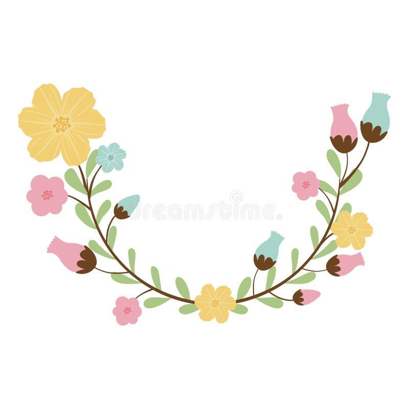 kolorowy dekoracyjny połówka łuk z flowerbud royalty ilustracja