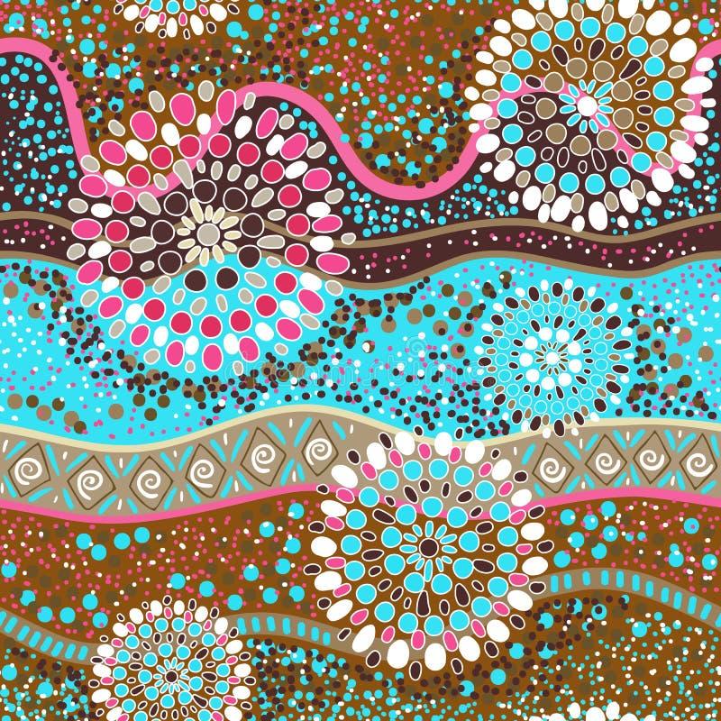 Kolorowy dekoracyjny wzór etniczne tło Australijski abstrakta styl ilustracja wektor