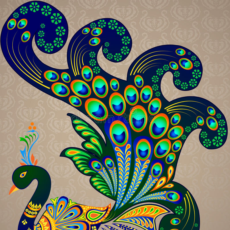 Kolorowy Dekorujący paw ilustracja wektor