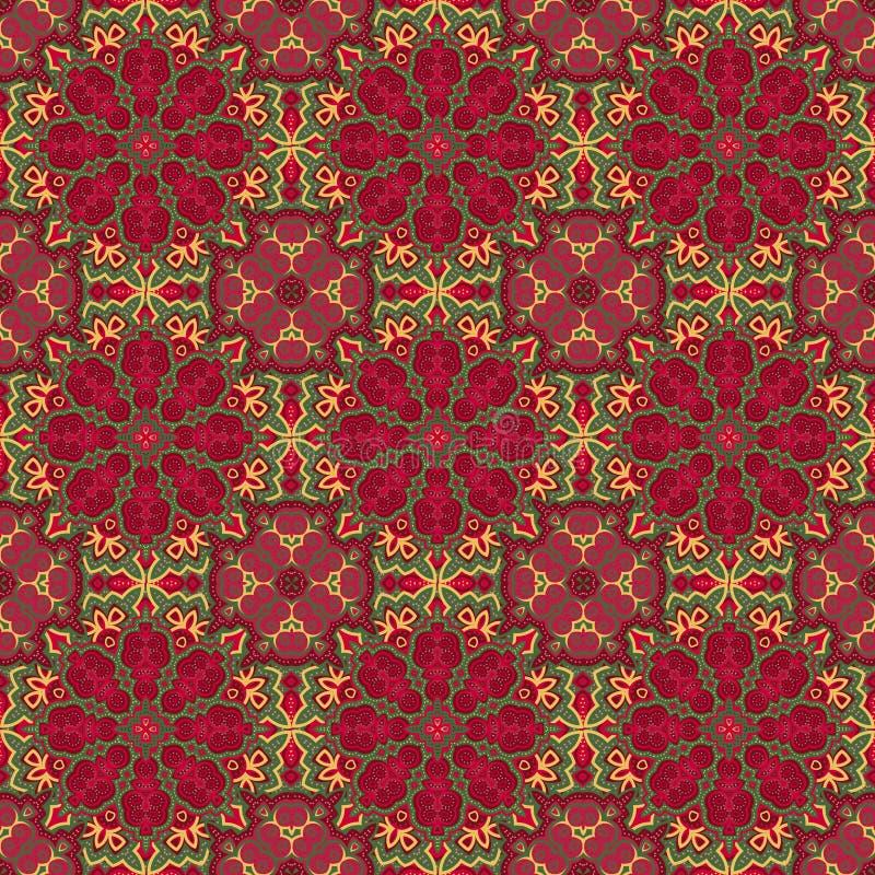 kolorowy deseniowy bezszwowy wektor Wschodniego ornamentu kolorowi szczegóły na turkusowym tle ilustracja wektor