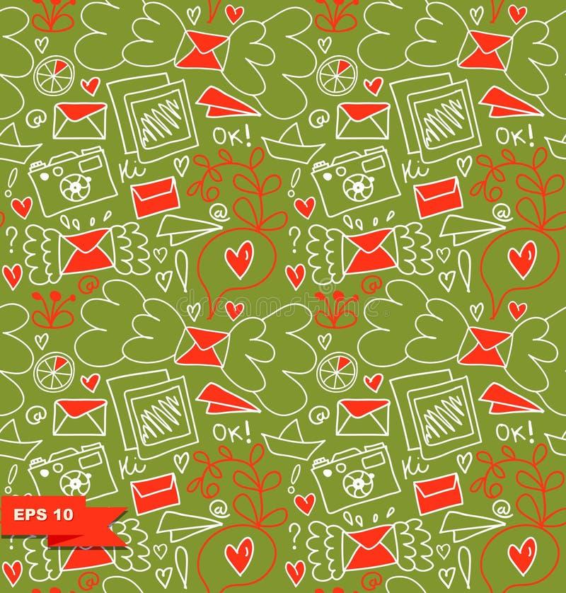 kolorowy deseniowy bezszwowy Wektorowy doodle tło z listami, sercami i innymi ślicznymi szczegółami, royalty ilustracja