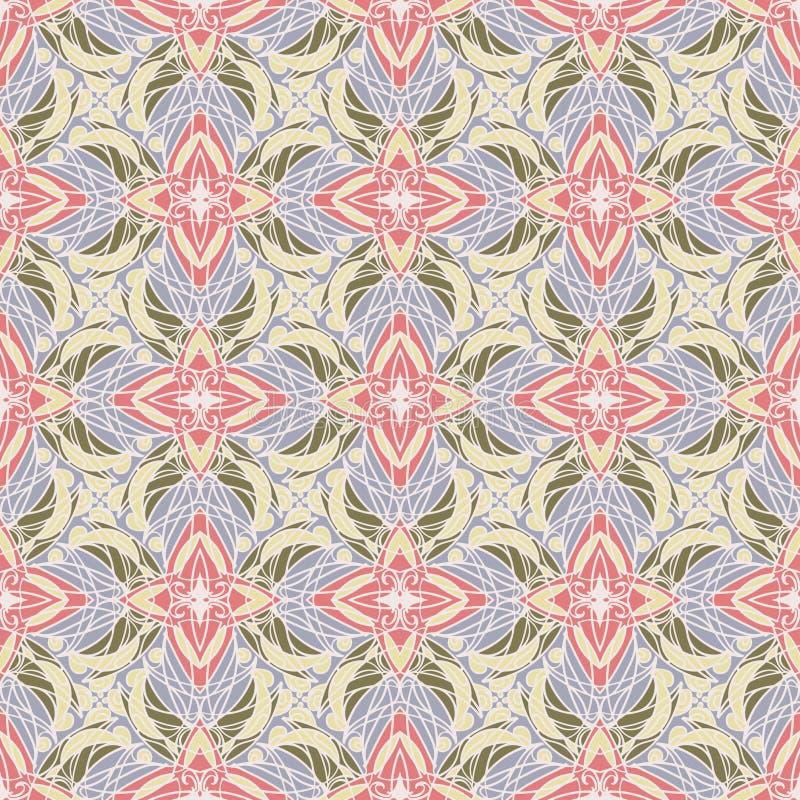 kolorowy deseniowy bezszwowy Wektorowy tło Retro ornamentacyjny styl ilustracji