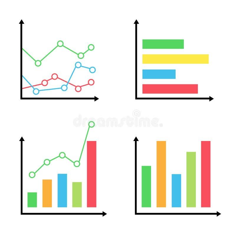 Kolorowy diagramów i wykresów ikony ustalony biznes royalty ilustracja