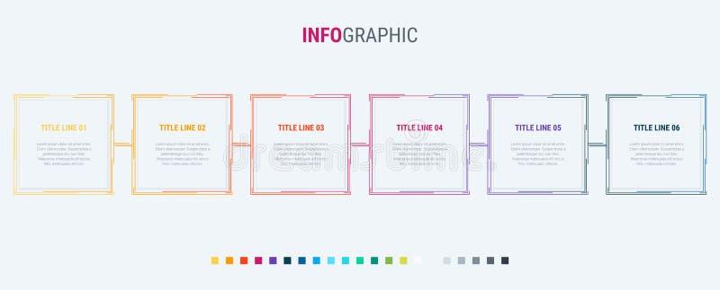 Kolorowy diagram, infographic szablon Linia czasu z 6 opcjami Kwadratowy obieg proces dla biznesu 10 t?o projekta eps techniki we ilustracja wektor