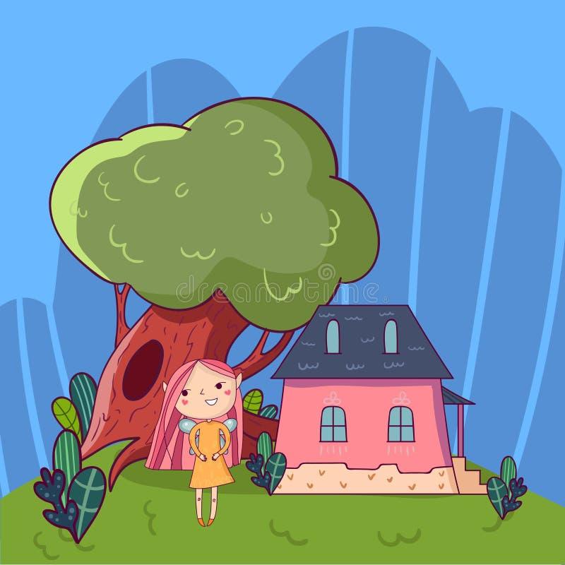Kolorowy doodle krajobraz z małym domem, starym zielonym drzewem i śliczną czarodziejską dziewczyną, Dziecięcy kreskowy wektor rę royalty ilustracja