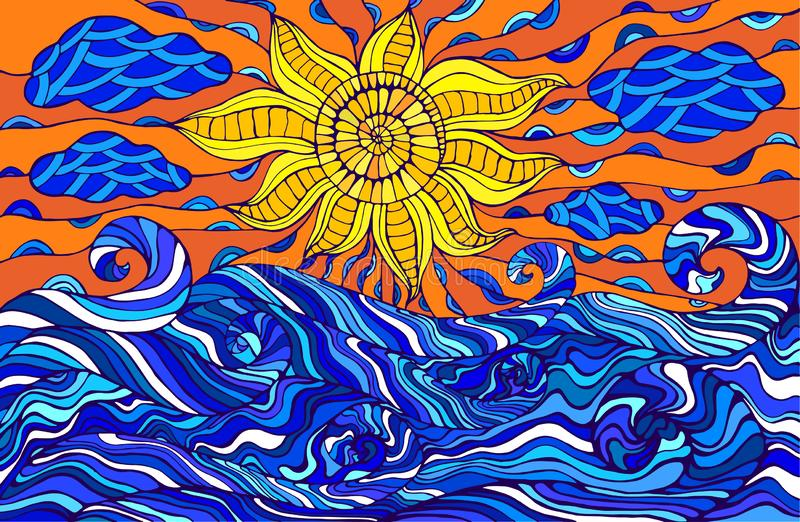 Kolorowy doodle słońce, chmury i ocean fale, Fantastyczny surrealistyczny s royalty ilustracja