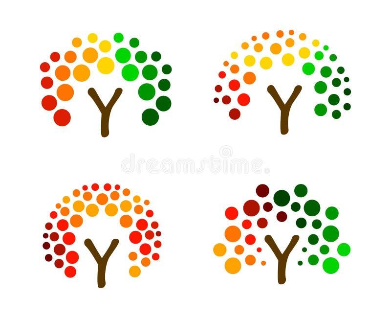 Kolorowy drzewo od okregów, wektorowy loga set Abstrakcjonistyczne lasowe ikony inkasowe Eco produktu organicznie ikona ilustracji