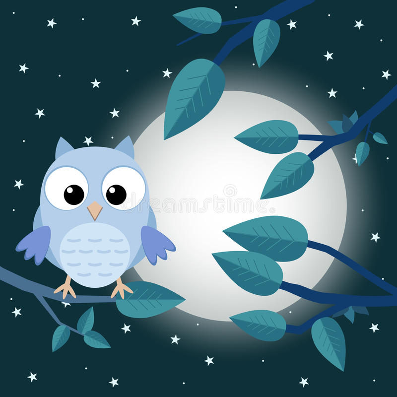 Kolorowy drzewo z śliczną sową Kreskówka ptak w księżyc lasowym mieszkaniu v ilustracji
