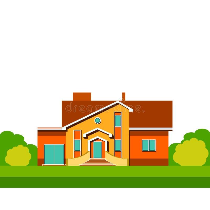 Kolorowy dwupiętrowy mieszkaniowy jednorodzinny dom royalty ilustracja