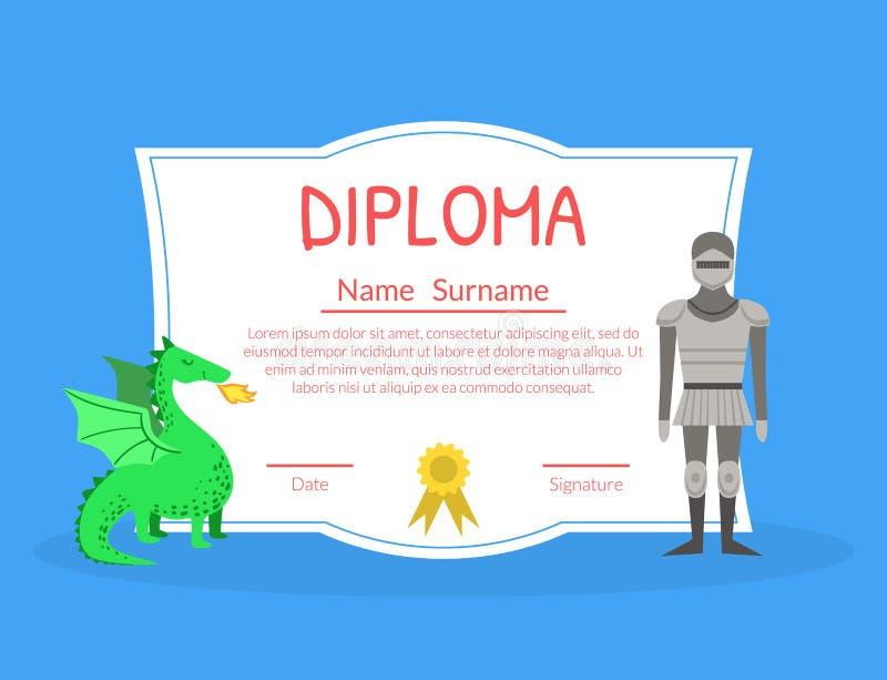 Kolorowy dyplomu szablon dla dzieciaków z miejscem Dla Twój teksta, Preschool, dziecinów dzieci świadectwo z rycerzem ilustracji
