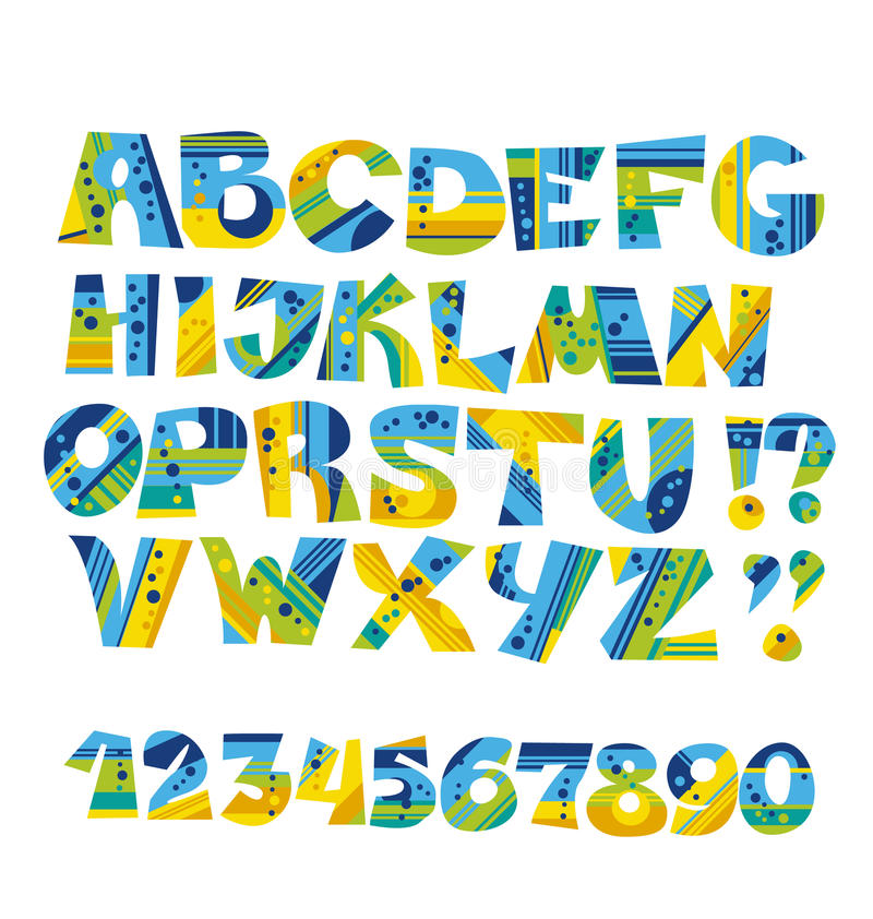 Kolorowy dziecięcy stylu list ustawiający odizolowywającym ilustracji