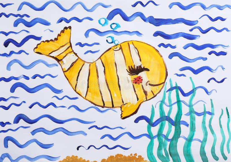 Kolorowy dzieci malować piękna ryba obraz royalty free