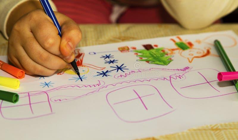 Kolorowy dziecka ` s rysunek obraz stock