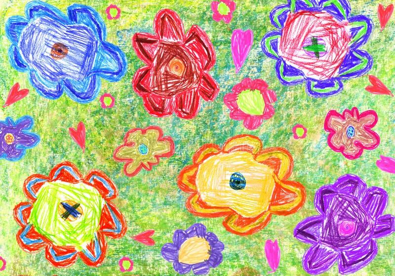 Kolorowy dziecko rysunek kwiaty royalty ilustracja