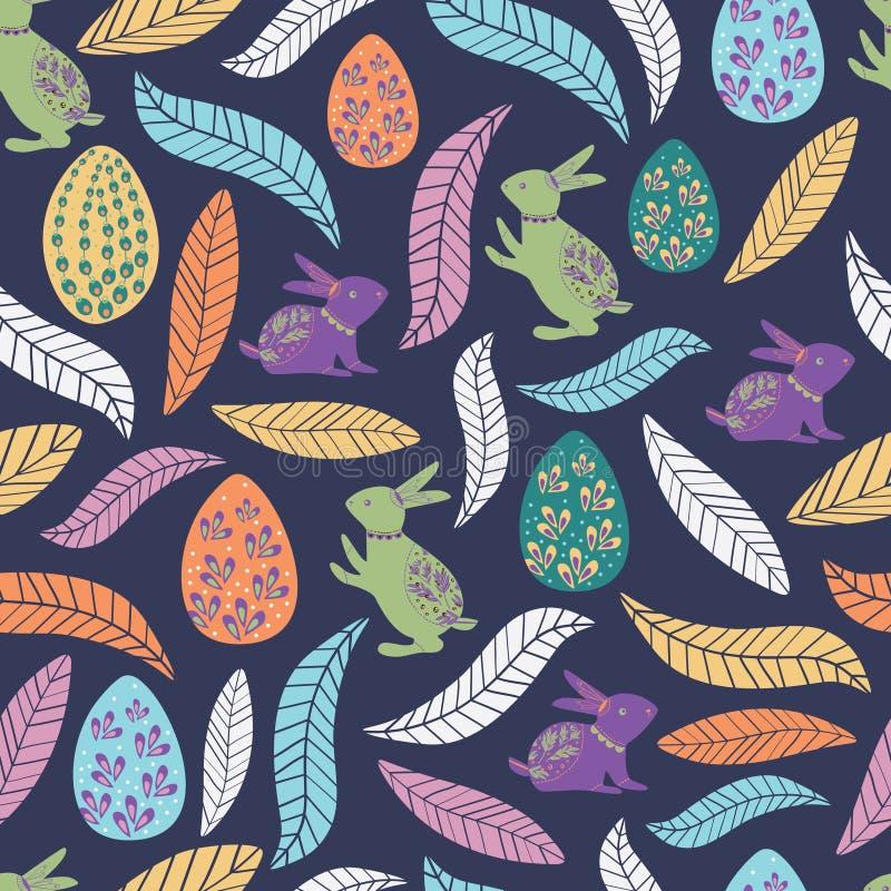 Kolorowy Easter wzór z królikiem, jajkiem i liśćmi dla dzieciaków, royalty ilustracja